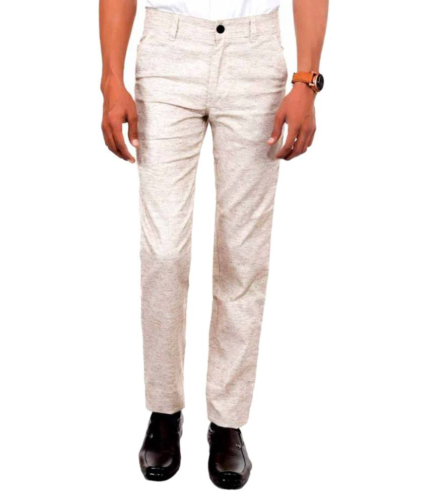 Killox Off White Regular Flat Trouser