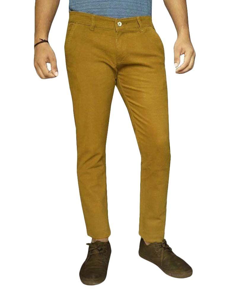 Damler Yellow Slim Flat Trouser