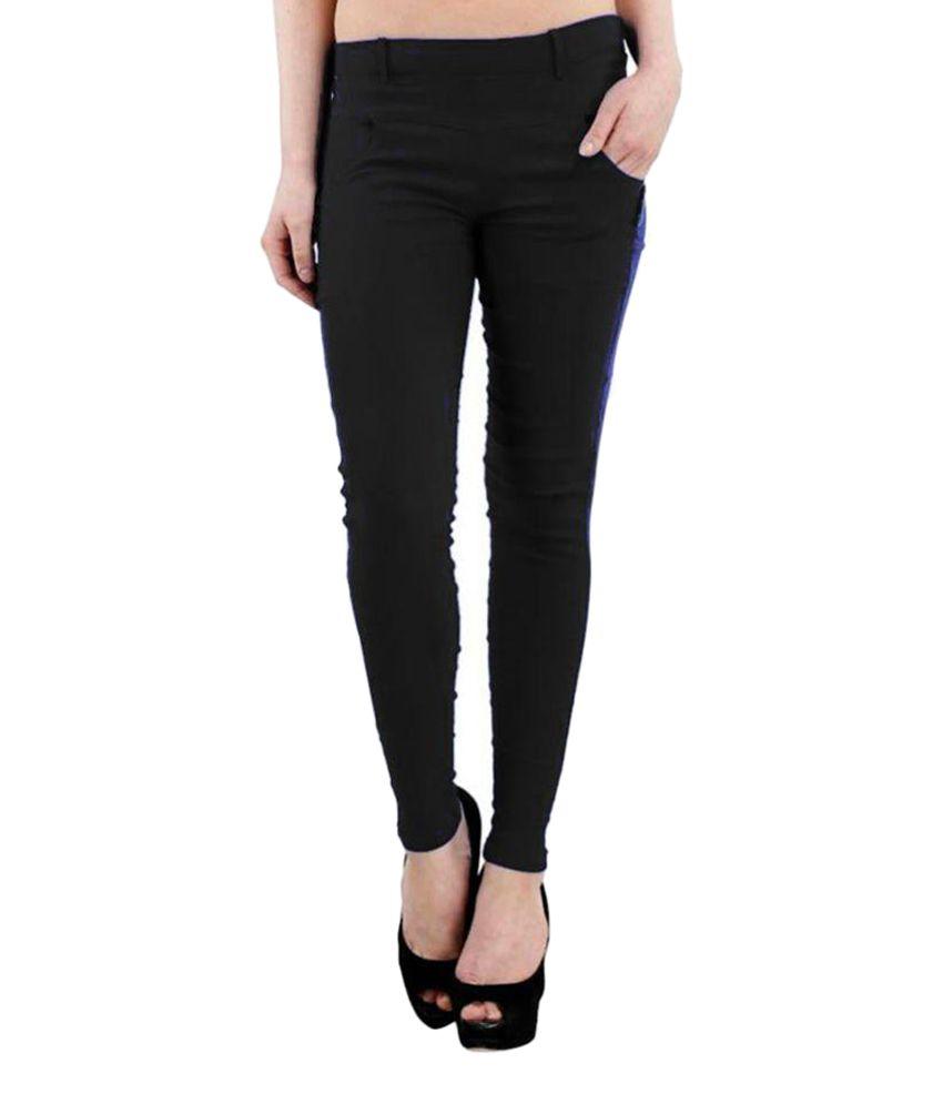 Fashion Arcade Black Cotton Lycra Jeggings