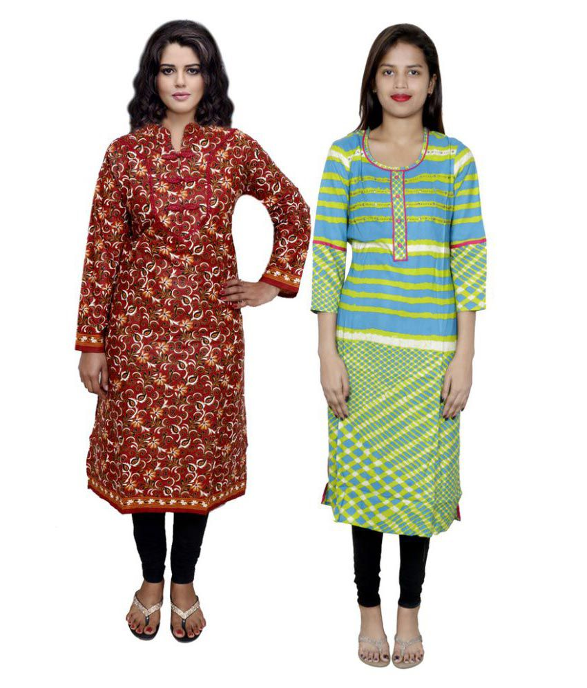 Indiweaves Multicoloured Rayon Straight Block printed Kurti