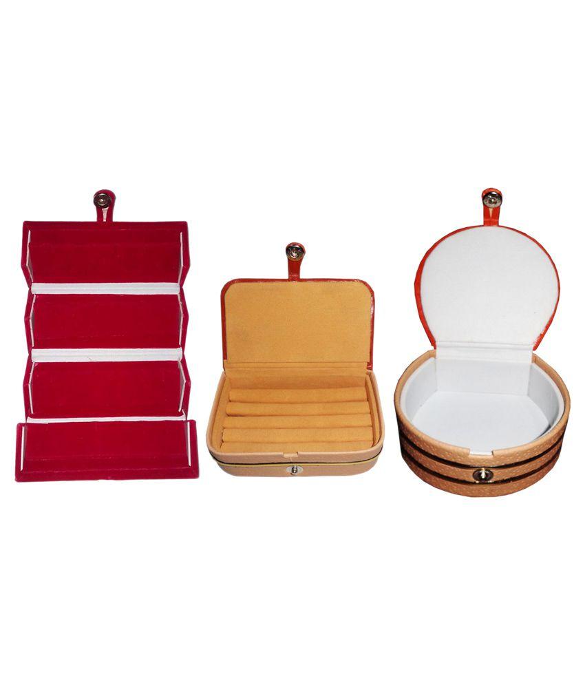 Abhinidi Multicolour Wooden Jewellery Box - Set of 3