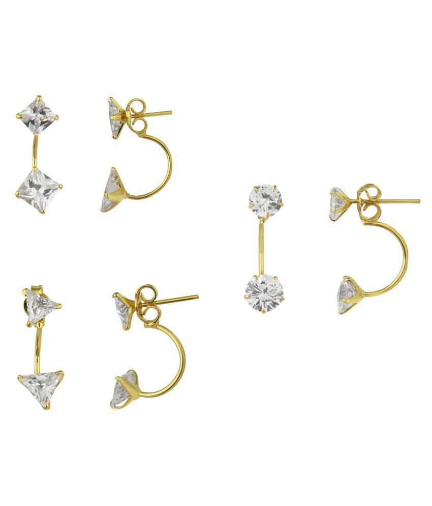 Parinaaz Golden Combo Earrings - Set of 3