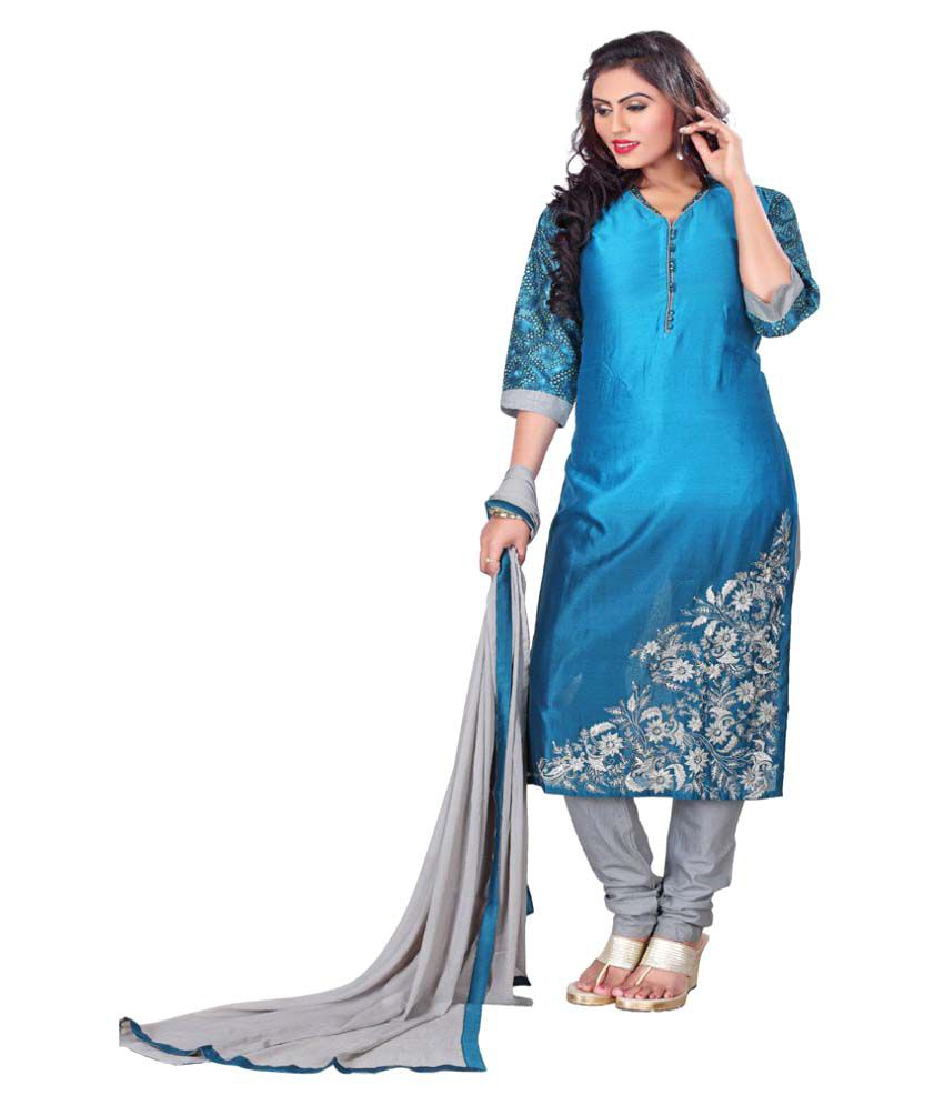 Payal Blue Chanderi Straight