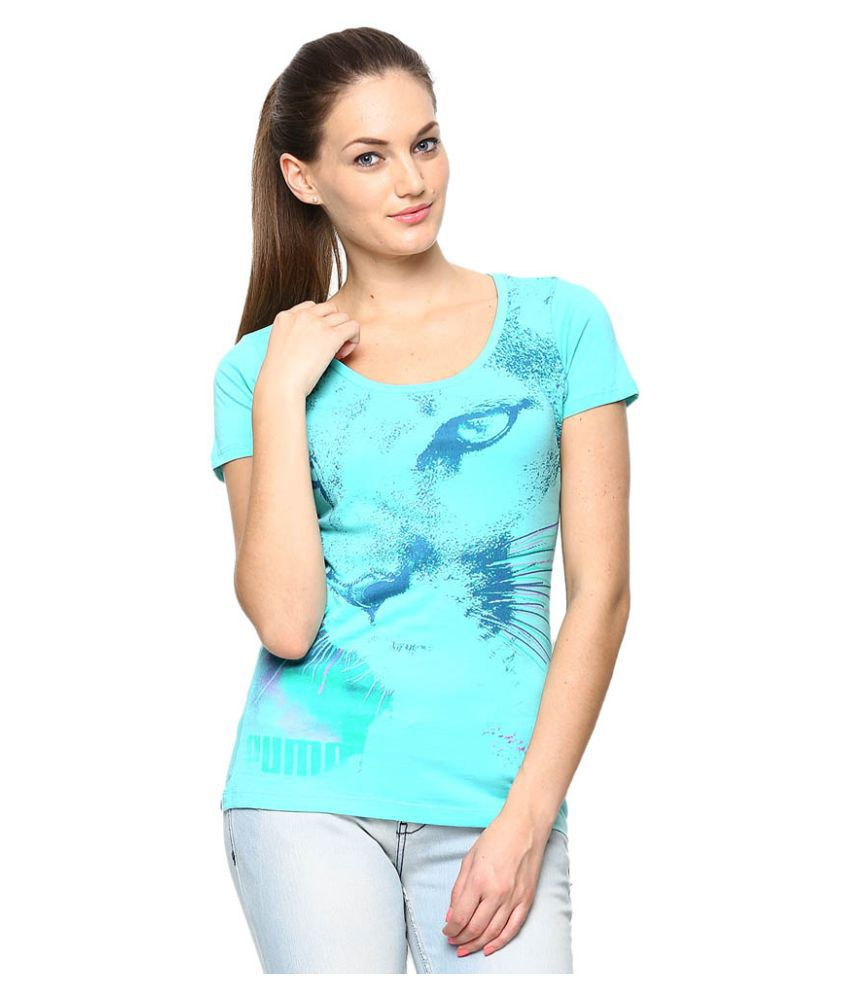 Puma Blue Cotton Tees