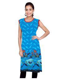 Kurti Studio Blue Cotton Printed Unstitched Kurti