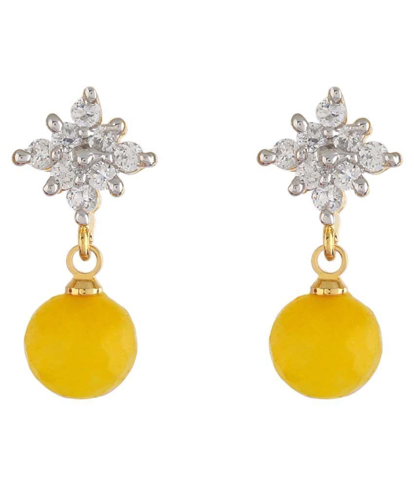 Jewel Planet Alloy Yellow Coloured Bead Drop Earring
