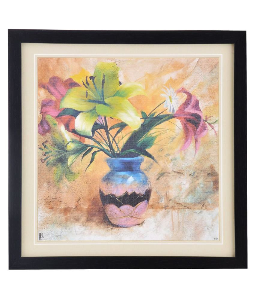 Generic-Painting Floral Wood Art Prints With Frame Single Piece