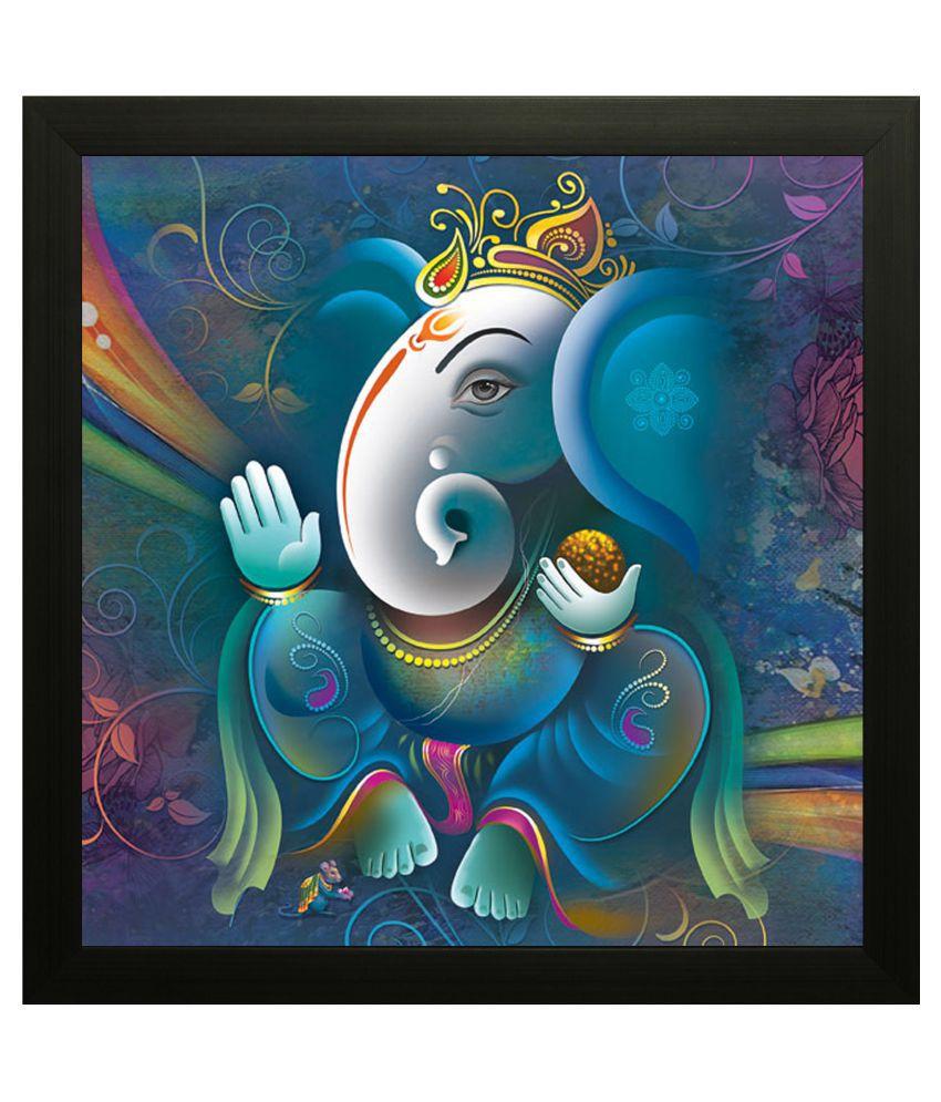 SAF Ganesh Wood Art Prints With Frame Single Piece