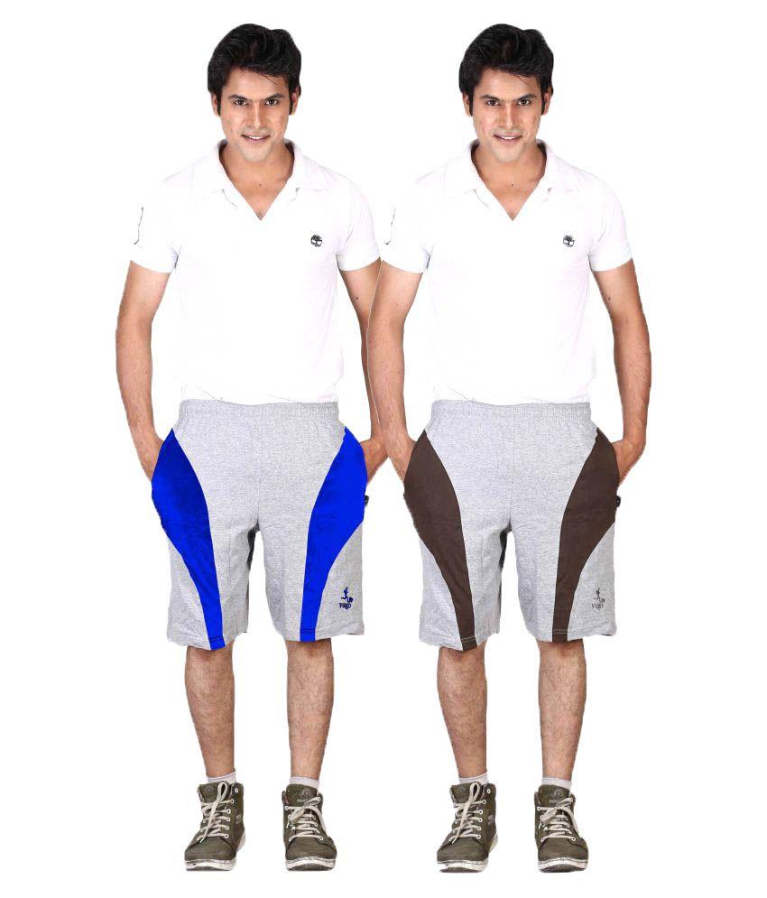 Vego Grey Shorts Pack of 2