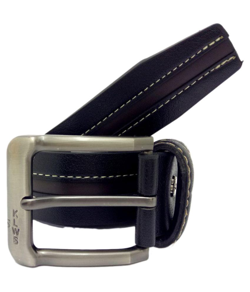 Kalewensen Black Faux Leather Casual Belts