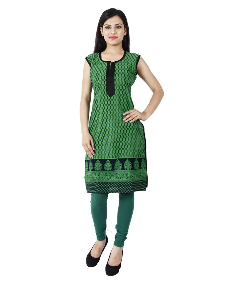 Manvaa Green Poly cotton Straight Digital Printed Kurti