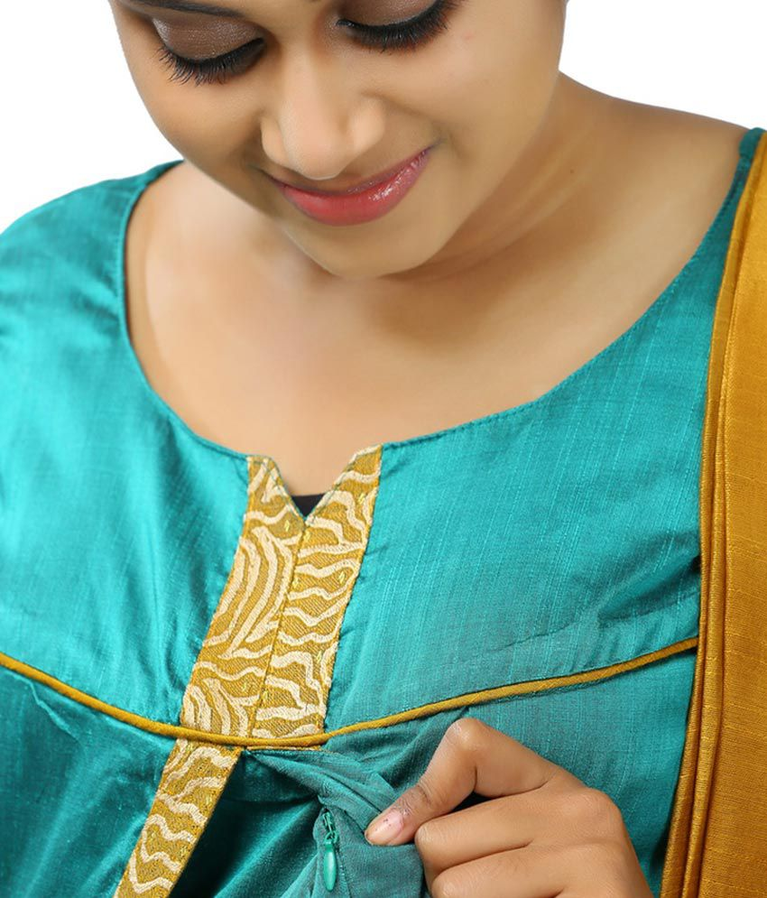 e66f0b3617146 ... Ziva Maternity Wear Blue Cotton Salwar Suit