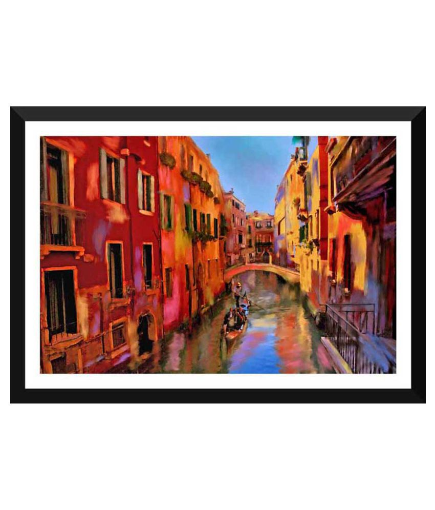 Tallenge Painting Of Gondola Ride In Venice Paper Art Prints With Frame Single Piece