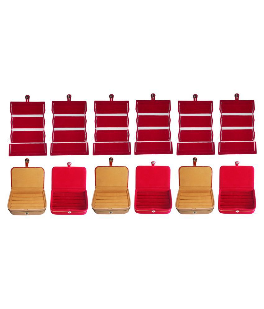 Abhinidi Combo of Six Multicolour Earrings Folders, Three Ring Boxes and Three Earrings Vanity Boxes