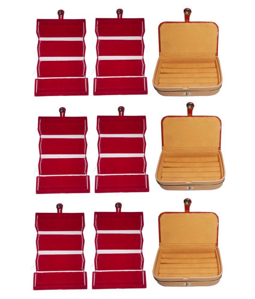 Abhinidi Combo of Six Multicolour Earrings Folders and Three Earrings Vanity Boxes