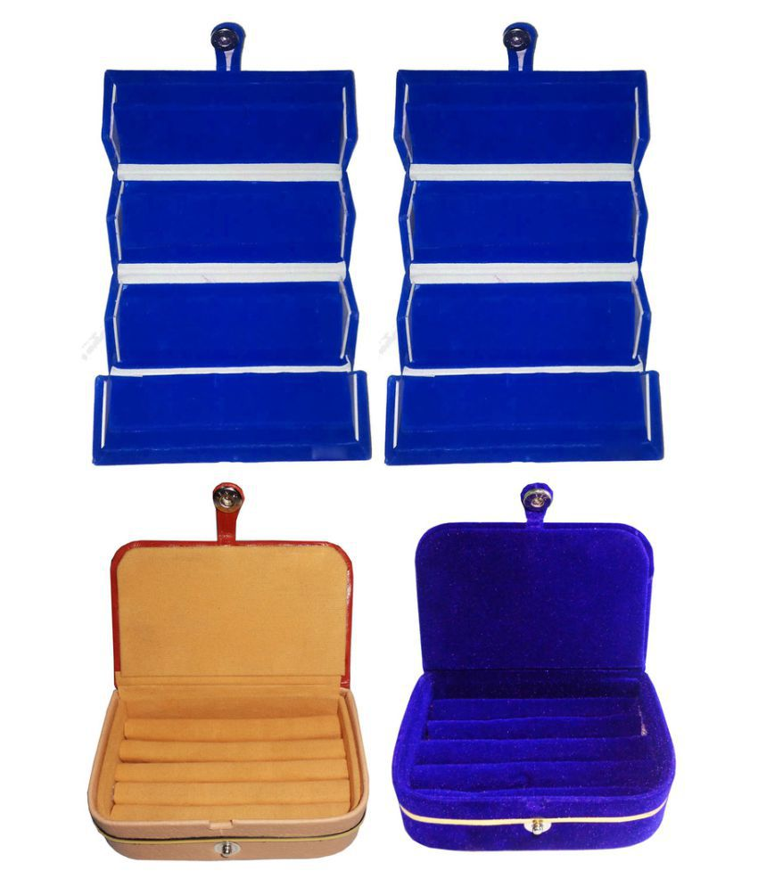 Abhinidi Combo of Two Multicolour Earrings Folders, One Ring Box and One Earrings Vanity Box