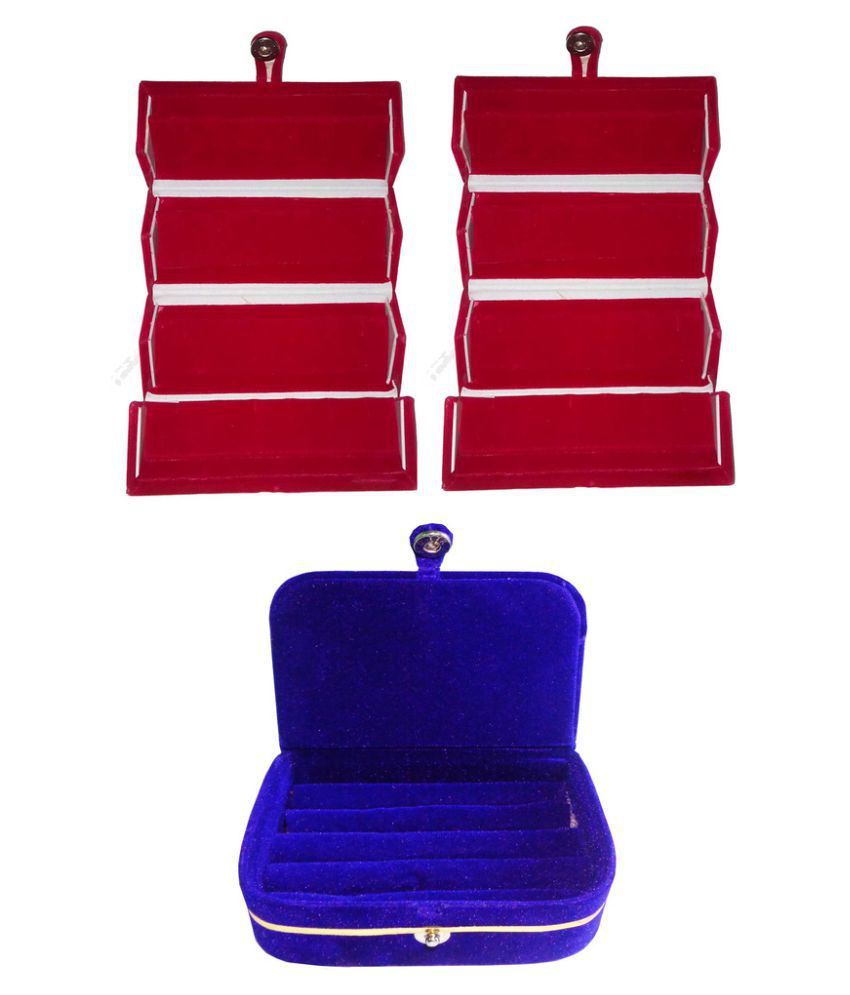 Abhinidi Combo of Two Multicolour Earrings Folders and One Earrings Vanity Boxes