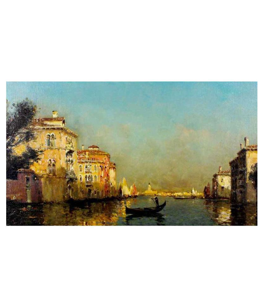 Tallenge Vintage Painting Of Gondolier In Venice Canvas Art Prints With Frame Single Piece