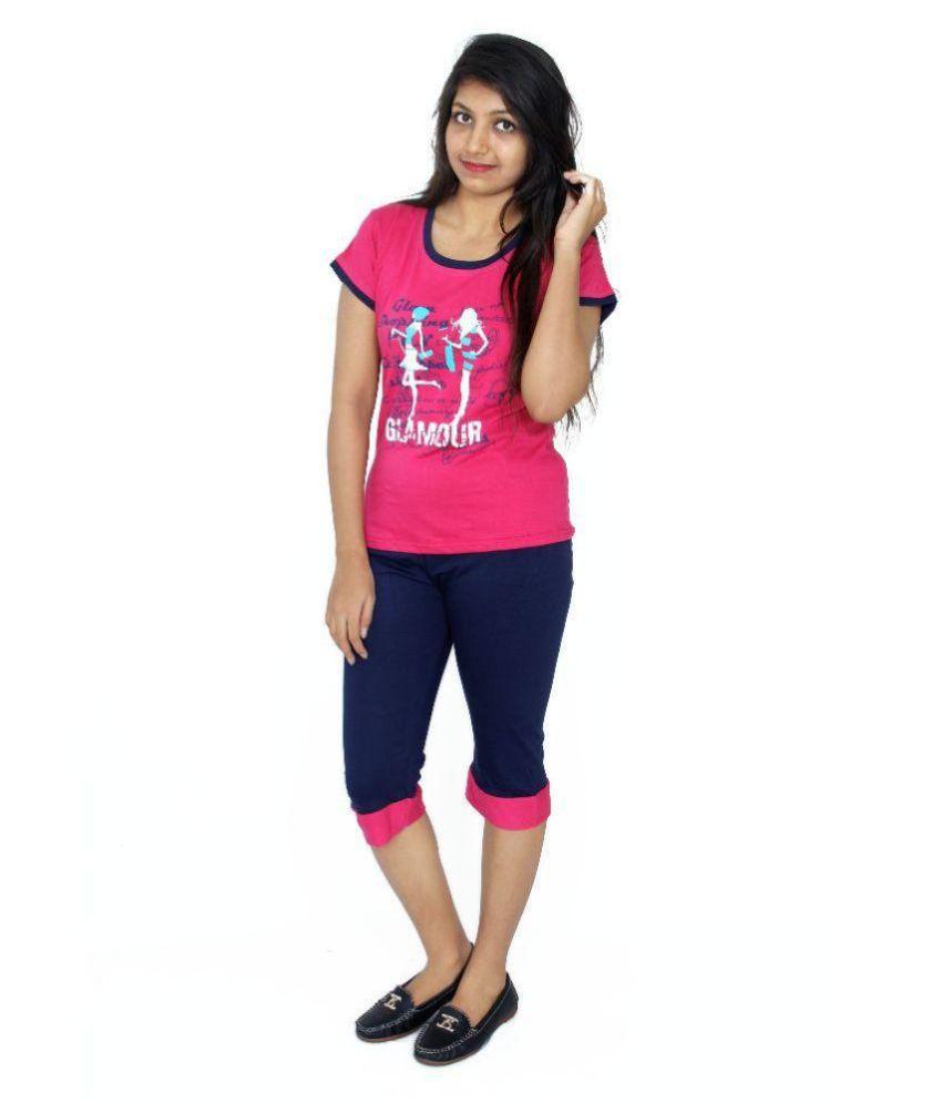 Apple Knitt Wear Pink Cotton Nightsuit Sets