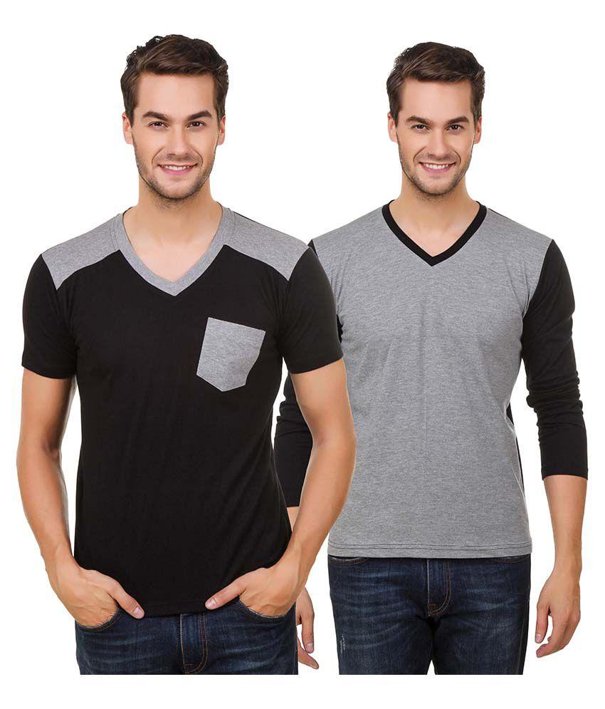 Hue Zephyr Multi V-Neck T-Shirt Pack of 2