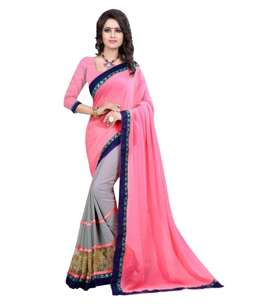 Awesome Baby Pink Georgette Saree