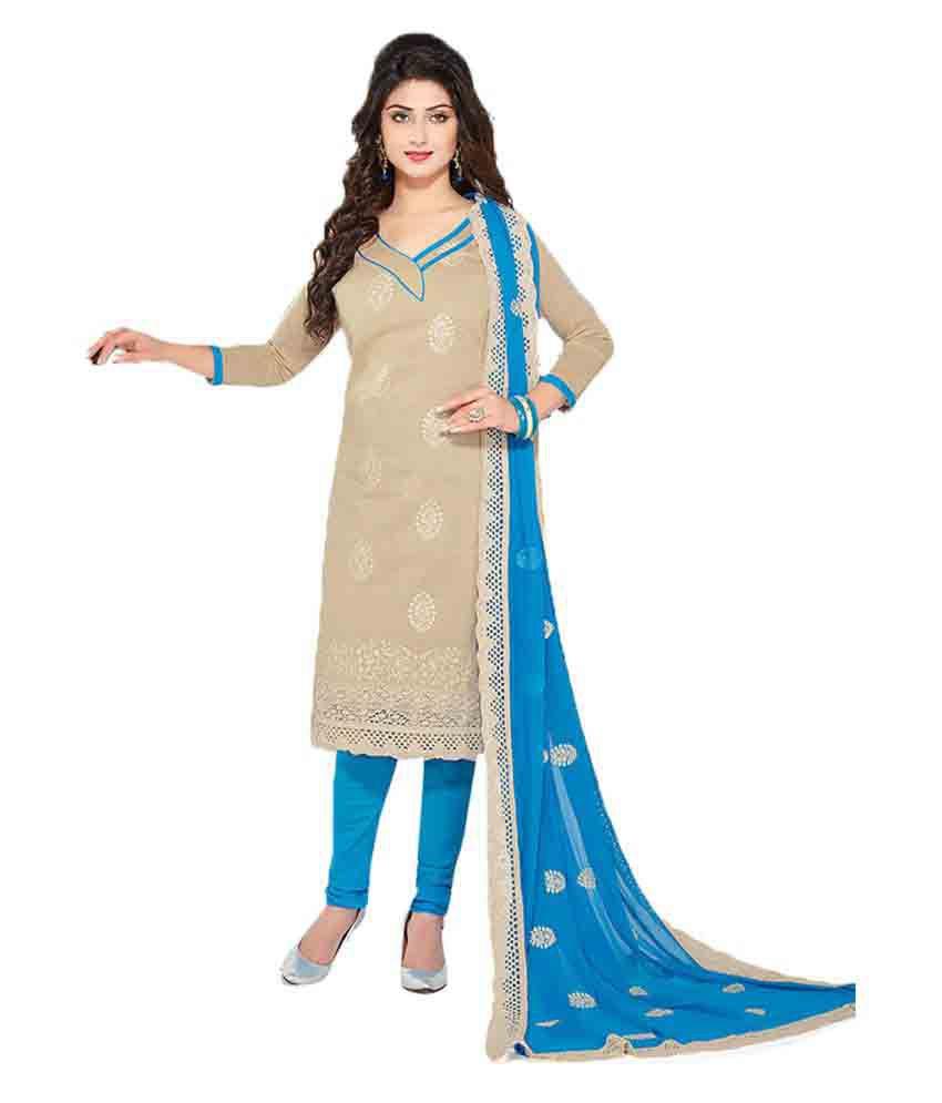 Ishin Beige Cotton Dress Material