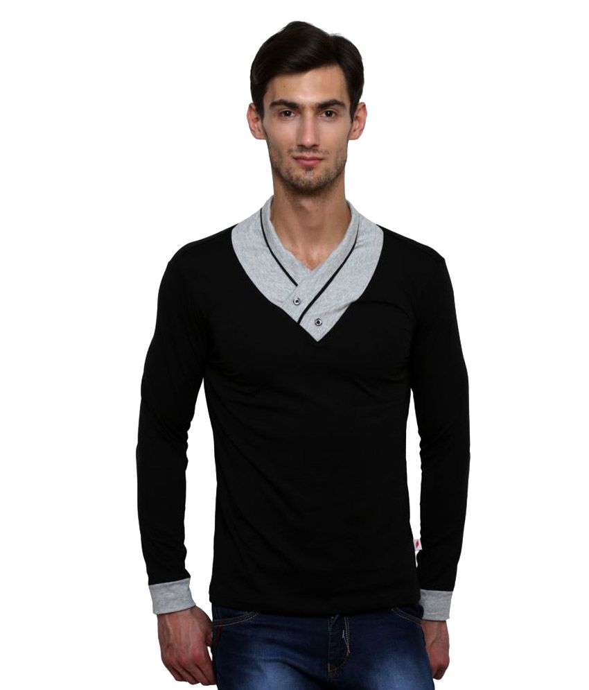 Le Bourgeois Black V-Neck T-Shirt
