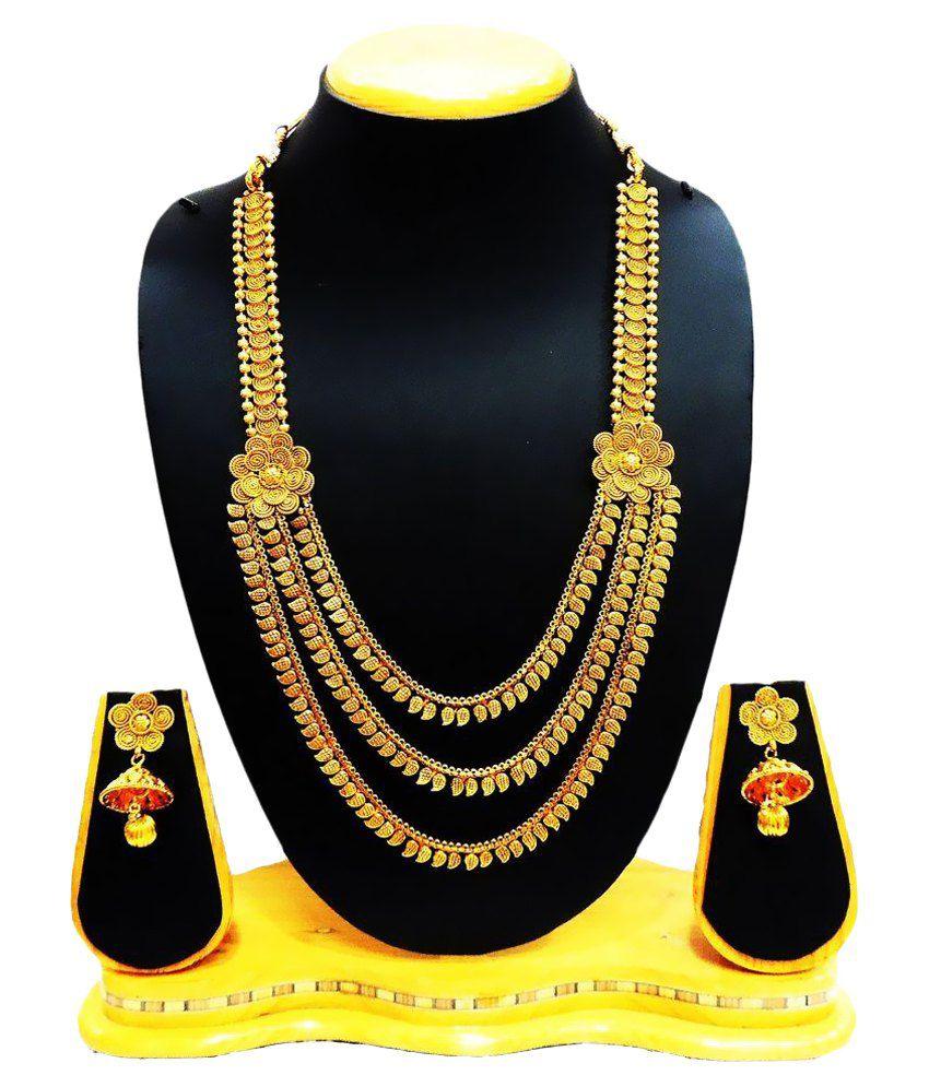 Satyam Jewellery Nx Golden Necklace Set