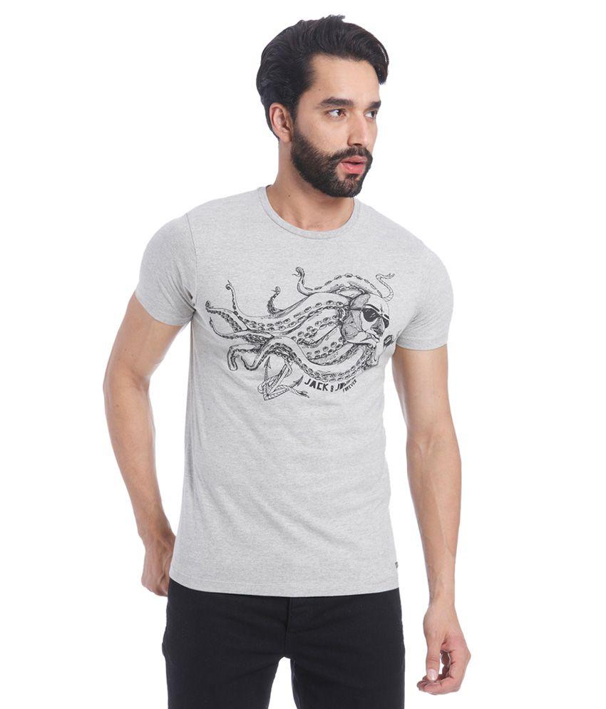 Jack & Jones Grey Round Neck T Shirt