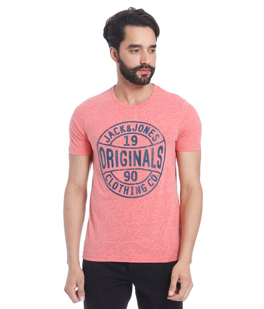 Jack & Jones Pink Round Neck T Shirt