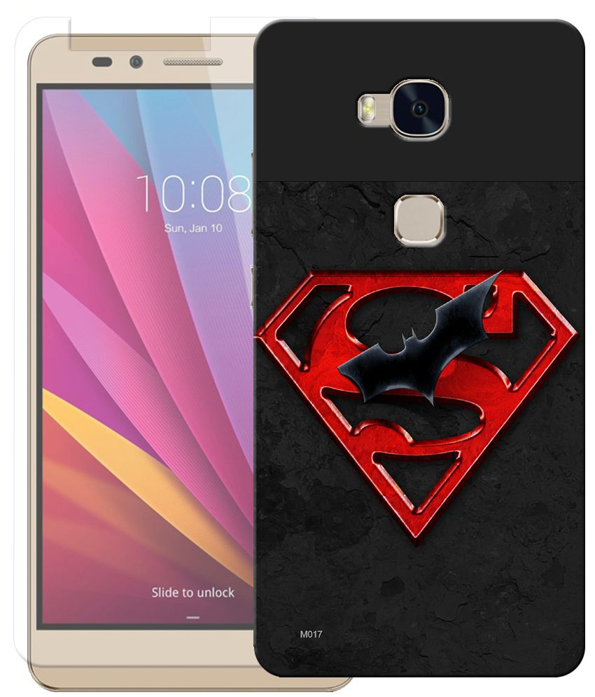 Anwesha's Combo of Super Hero HD UV Printed Mobile Back Cover and Tempered Glass For Huawei Honor 5X