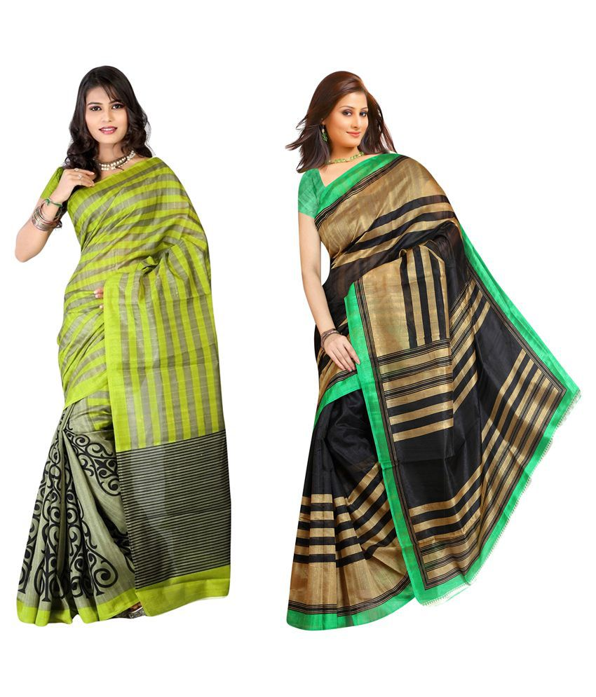 Muta Fashions Multicoloured Bhagalpuri Cotton Saree Combos