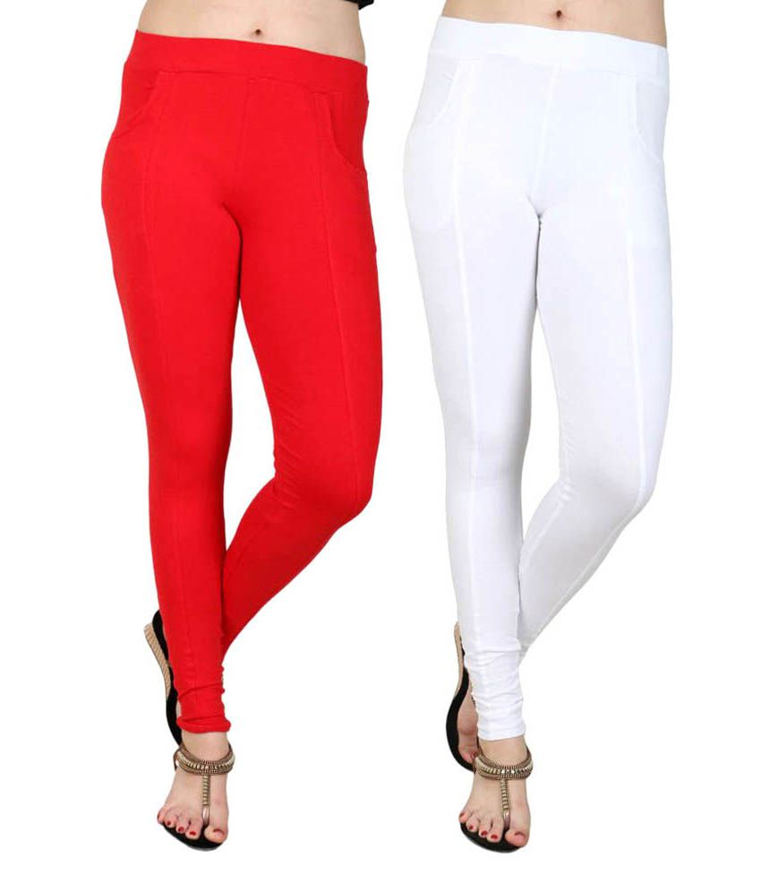 Faded Finch Multi Color Cotton Lycra Jeggings - Pack of 2