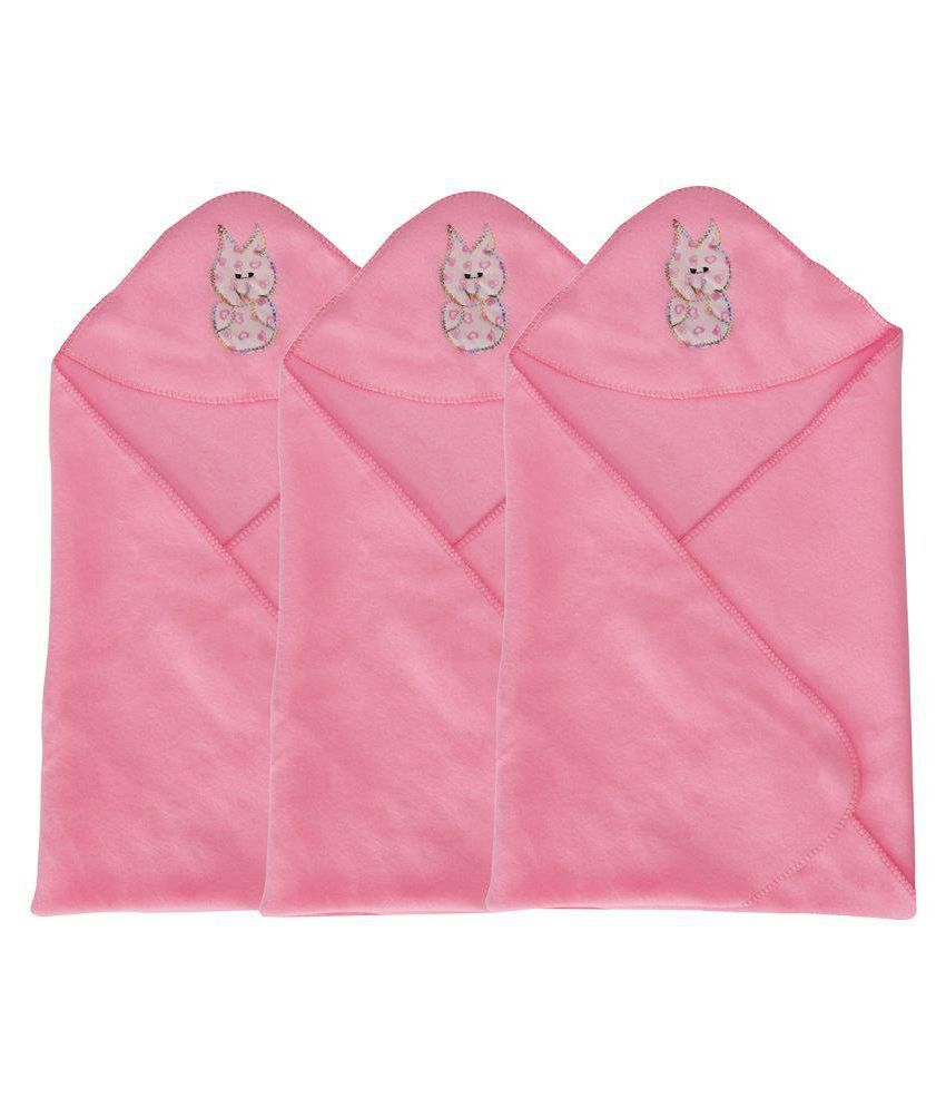 Aarushi Pink Cotton Baby Wrapper - Pack of 3