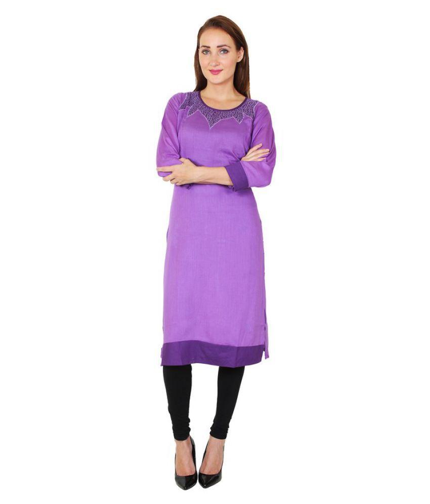 Sritika Purple Rayon Straight Resham Embroidery Kurti