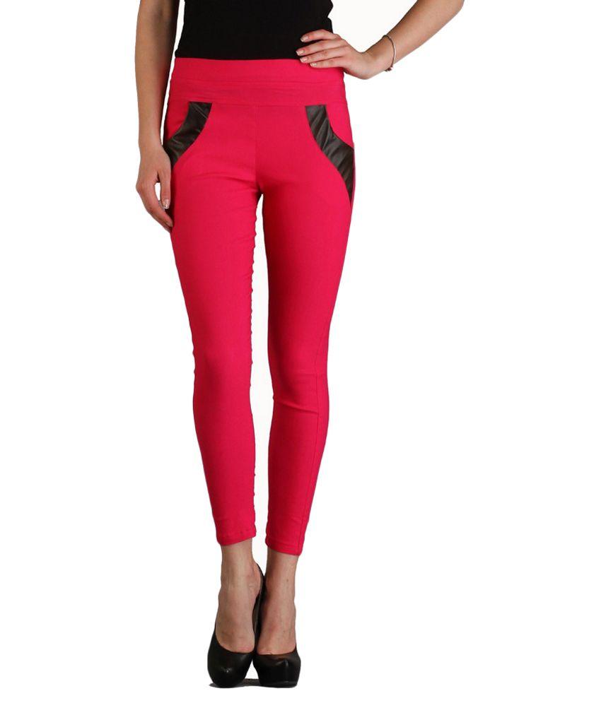 Sritika Pink Cotton Lycra Jeggings