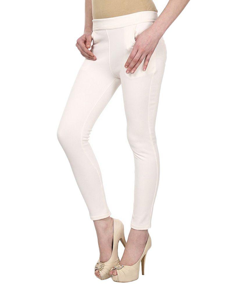 Sritika White Cotton Lycra Jeggings