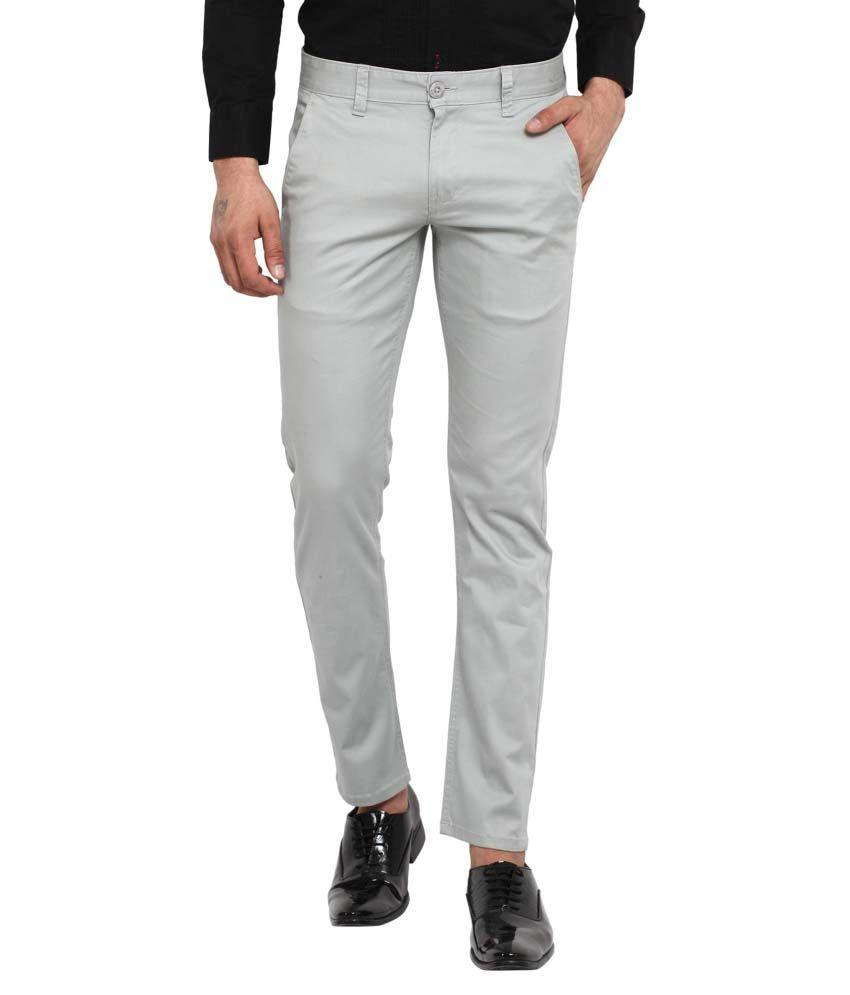 Wear Your Mind Grey Slim Flat Trouser