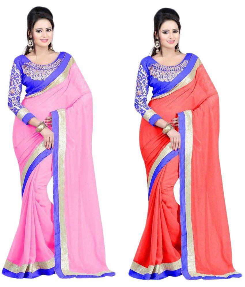 Tulsi Fashion Multicoloured Chiffon Saree Combos