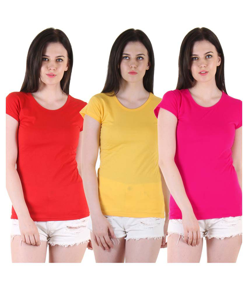 Diaz Multi Color Cotton T-Shirts