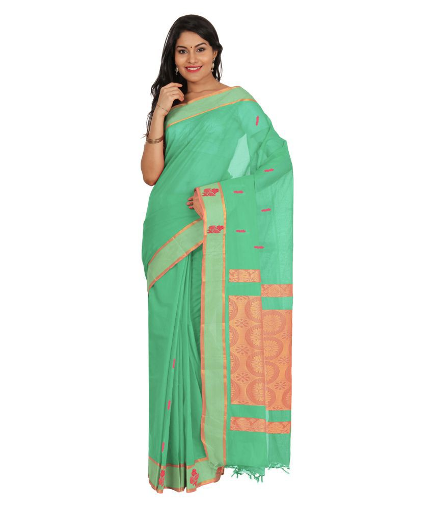 Platinum Green Cotton Saree