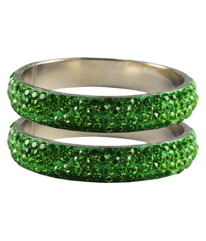 Vidhya Kangan Green Brass Bangle Set