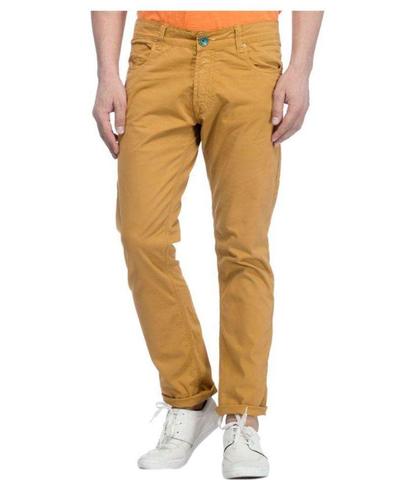 Tinted Tan Slim Flat Trouser