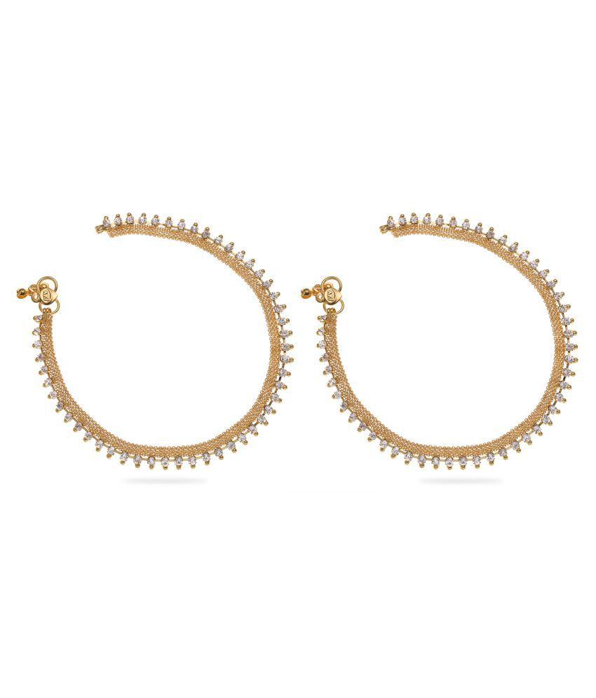 Vedika Jewellery Golden Anklets - Pack of 2