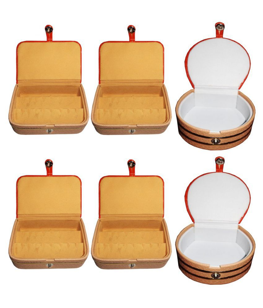 Abhinidi Multicolour Wooden Jewellery Box - Pack of 6