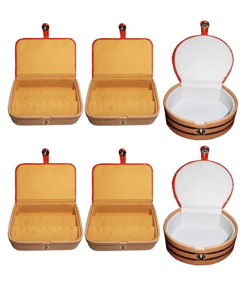 Abhinidi Multicolour Wooden Jewellery Box - Pack of 6
