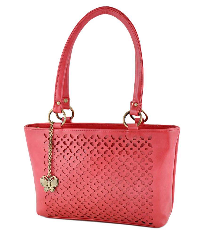 Butterflies Pink Faux Leather Shoulder Bag