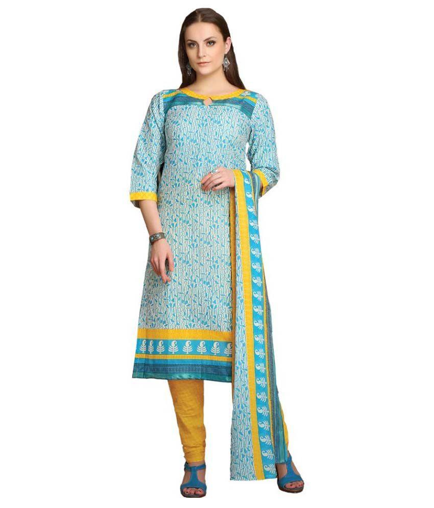 Rutbaa Blue Cotton Dress Material