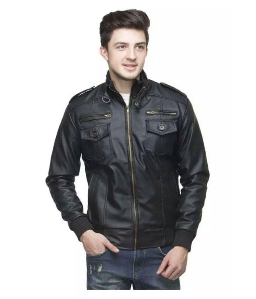Kirli Black PU Leather Casual Jacket