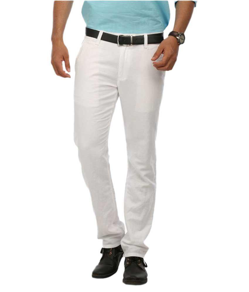 Le Meiux White Regular Flat Trouser
